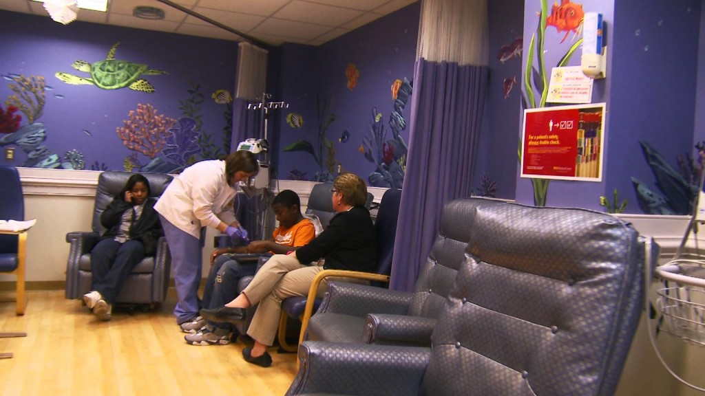 The St.Vincent Pediatric Oncology treatment clinic is decorated with many colorful scenes and is set-up for interactive media and includes free WiFi access.