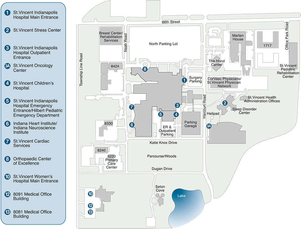 Campus map of Peyton Manning Children's Hospital at St. Vincent